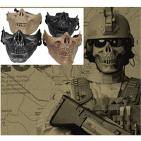 Eco-friendly ABS mask for men - M03 Cacique Skull Gen HALF Face Mask Army of Two Halloween Cosplay Mask Skeleton Black Silver black Khaki