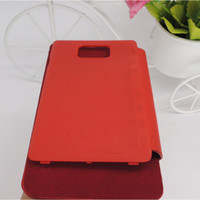 Wholesale 20pcs ultrathin Flip Cover PU Leather Case with back battery housing For Samsung Galaxy S2 I9100 with retail box logo