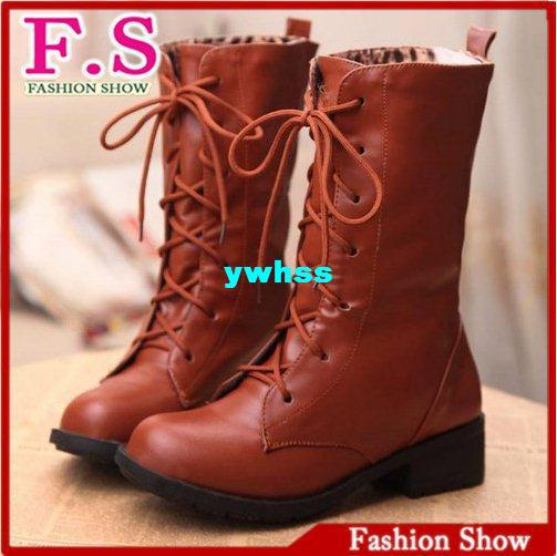 2013 Fashion Motor cycle Boots Lace up Gladiator Thick Heels Half Knee