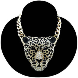 Chunky Luxury Gold Plated Link rhinestones leopard Head Choker Necklace 1pcs 16""