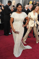 Wholesale 2012 Oscar Octavia Spencer white dress sweep train short sleeves crew neckline sequins beaded chiffon sheath evening prom dresses
