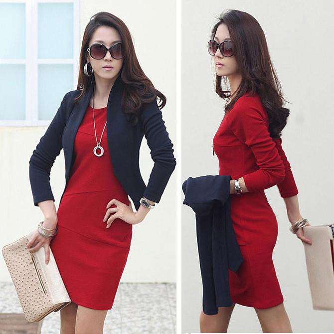 Fashion Long Sleeve Knee-length Dress for Women 2013 Autumn Winter ...