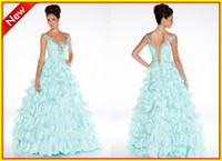 Chiffon V-Neck Sleeveless Custom New Style Aqua V neck A line Layered Chiffon Crystal Backless Beads Floor length Prom Evening dresses Formal Pageant Dress Gowns 4961