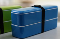 Wholesale Japanese style double layer lunch boxes microwave oven double layer sushi box
