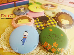 Wholesale Portable MakeUp Mirror Cartoon Round Cosmetic mirror Pocket Compact Looking Glass gift