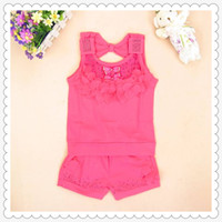 Wholesale Pink Suits for Girls Floral Hot Drilling T Shirt and Elastic Waisted Shorts Soft Cotton Fabric Stretch Fit Good Quality Hot Sale E14