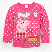 Wholesale F4245 Nova m y Baby girls pink t shirts hot peppa pig clothing cotton long sleeve polka dots printing tee shirts girls autumn tops
