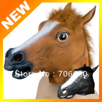 Silicone Halloween masks latex - Creepy Horse Mask Head Halloween Costume Theater Prop Novelty Latex Rubber H589