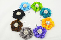 Celtic Children's Gift Trail order candy colors Bling Button centre flower clip DIY Layered satin ribbon flower brooch hair dress Accessory 20pcs lot