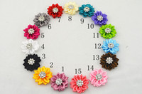 Wholesale Trail order Crystal Button centre DIY Cluster Flowers satin ribbon flower WITHOUT clip headband accesories