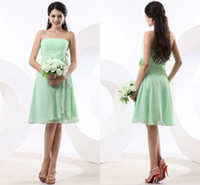 Ruffle Sleeveless Strapless Affordable Fresh Lime Green Strapless Chiffon Knee Length Bridesmaid Dresses AP18