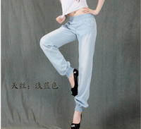 ladies trousers - Women Tencel Harem Pants stylish lady Wash blue casual loose pant korea style summer autumn women trouser