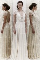 Wholesale Hot Sales Jenny Packham Summer Beach Wedding Dresses Sexy Deep V Neck Lace Beads Chiffon Sheath Wedding Gown BO1448