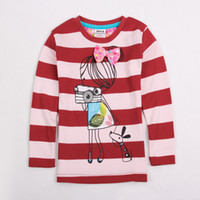 Round Neck Girl Winter F4222# Red pink Nova New Arrival 18m-6y baby girls t-shirts cute printing tee shirts cotton long sleeve stripe spring autumn girl sweat tops