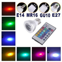 Wholesale Promotion Sales Ultra Bright W E27 GU10 MR16 E14 RGB LED Spotlight Bulb Lamp light Color changing IR Remote