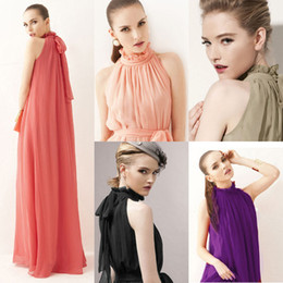 Wholesale Elegante Damen Chiffon Neck Sleeveless Abend Ballkleid Lang Maxi Kleid Dress