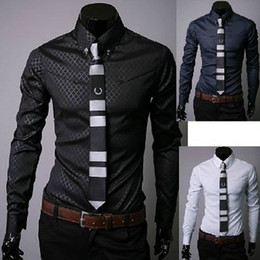 Wholesale Men s Stripe Stylish Casual Dress Slim Fit Long Sleeve Shirts Color Black White Blue Size Adeal CWZ0314