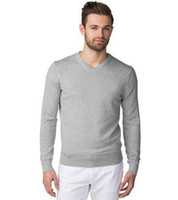 Wholesale Super good quality men s cotton V neck sweater solid color long sleeve casual sweater