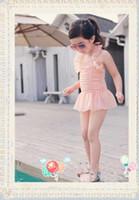 Wholesale Lovely Baby Girl Summer Swimwear Lace One piece Bikini Dress Children Kids Beach Swimwear With Cap