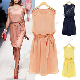 Wholesale S5Q Womens Chiffon Handmade Bead Shoulder Bow Belt Sleeveless Pleated Vest Dress AAABYR