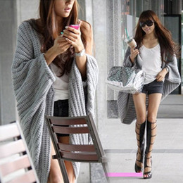 Wholesale Lady Batwing Casual Loose Sweater Knitting Long Cardigan Shawl Outwear