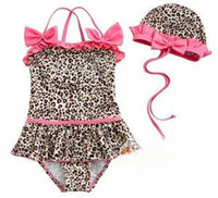 Girl Two-piece 2T-3T Girl 2-piece leopard Swimwear zebra print girls swimsuit swim pool itemsbath kids baby swimwear #9897