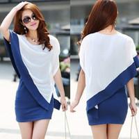 Wholesale NEW Fashion Korean Women S Dresses Aestheticism CAP BAT Sleeve Splicing Skirt O