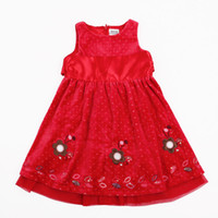 Wholesale H2783 Red Nova y y Baby girls princess dress for Christmas party dress girls polka dot velvet dress flower tank dress for winter
