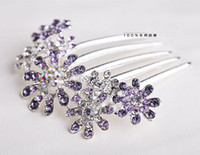 Wholesale F Fashion Korean Style Silver Plated Alloy Purple Crystal Rhinestone Flower Hair Combs