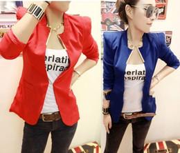 Wholesale NEW Womens Korea Fashion Metal Collar Slim Shrug Blazer Coat Colors