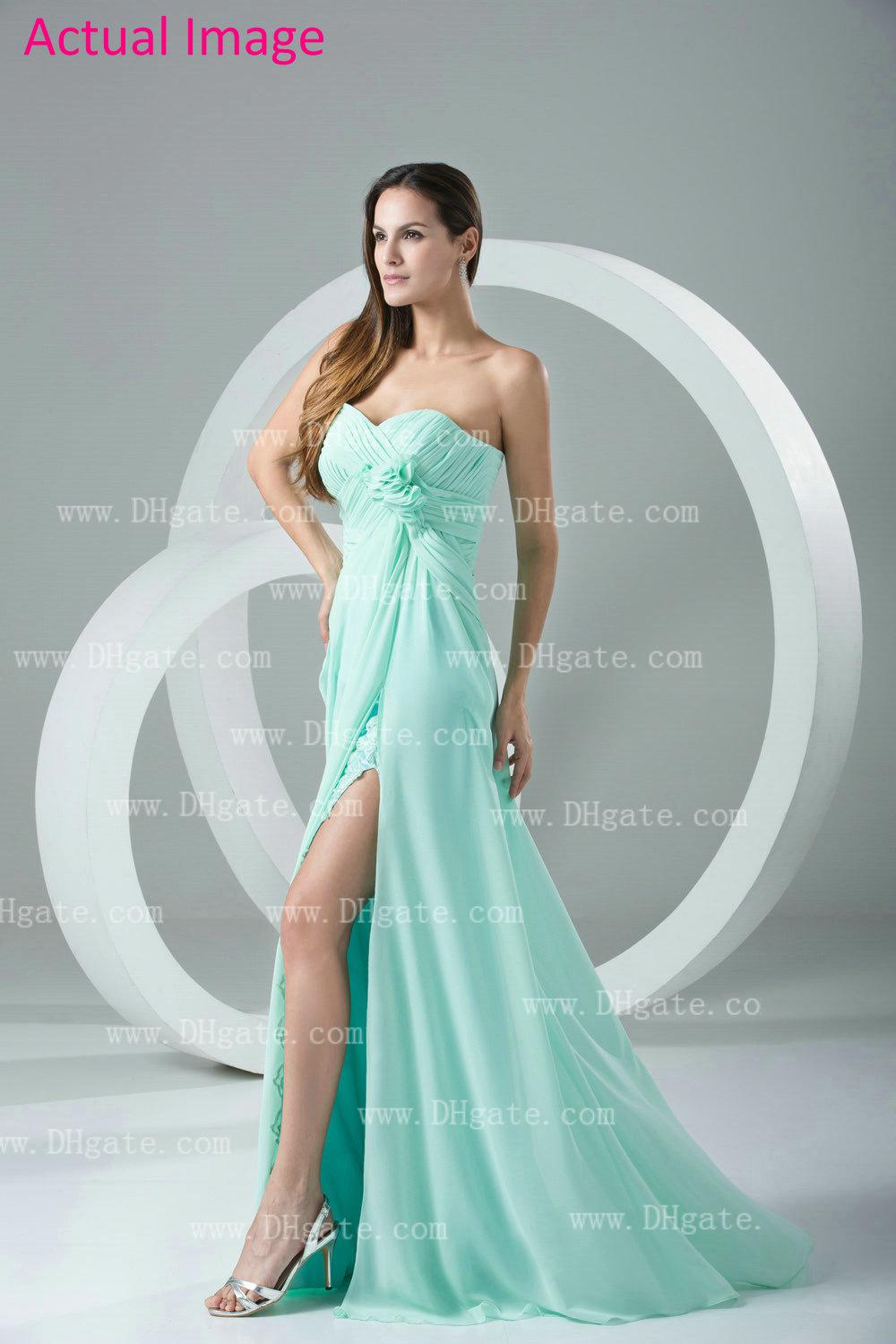 Mint green high low lace flower sweetheart prom dresses for Green beach wedding dresses