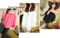 Wholesale Tops Women Chiffon OFF Shoulder Long Sleeve Sexy Casual Loose Blouse B