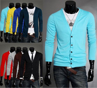 Wholesale Korean Style Casual Couple Knitting Garment Men s Slim Fit V neck Long Sleeves Knitwear Sweaters Cardigan colors size CWZ0320