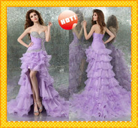 Reference Images Organza Sleeveless WOW Romantic Lilace High Low Sweetheart Layers Ruffles Organza A line Crystal Evening Dress Prom Pageant Formal bridesmaid Dresses Gown HOT