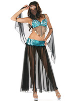 arabian outfits women - International Theme Cosplay Sexy Arabian dance girl costume midriff baring outfit sequins bra top dress match veil Stage uniform colors