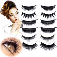 Wholesale New Pairs Styles False Black Long Eyelashes Free Glue Makeup Cosmetic Set Eyelash Adhesive