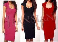 Cheap Women Casual Career Wear to Work Elegant Peplum Cap Sleeve Pencil Dresses W1120