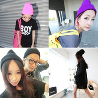 Wholesale 28 Colors Warm Women Men Fancy Acrylic Knit Wrap Ski Beanie Cuff Hats Caps BJF36