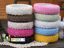Free Shipping  Hot sweet solid colors double lace style fabric lace tape  sticker tape
