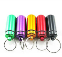 Wholesale 48 mm Mini Aluminum Waterproof Pills Box Case Bottle Holder Container Keychain Keyring