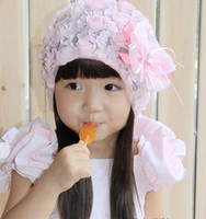Wholesale NEW Baby amour hats girls hat headband barrette headdress flower beanie hair pin clip band caps
