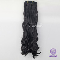 Wholesale Hot fashion Kanekalon women s long Curly Hair Piece Clip in Synthetic Hair Extensions black for Beauty Hairpieces