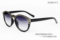 Wholesale 2013 whoslesale new fashion Korean sunglasses high quality metal leopard red brown letter H Carving flowers glasses S180
