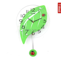 Mechanical Wall Clocks Geometric Wooden arch hammock fashion clock bedroom swing wall clock mute rustic ladyfly leaves pocket watch clock