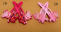Wholesale 50pcs Baby Cartoon BB clips girls hairpins Children Hair clips silicone Headwear Lovely Peppa pig doll girls accessories