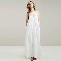 modern dresses - 2015 Women s Maxi Long cotton Singlet dress lady strapless backless blue white sleeveless modern casual dresses