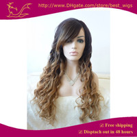Wholesale Two tone ombre color hair multi color quot loose wave hand made heat resistant synthetic lace front hair wigs for white women