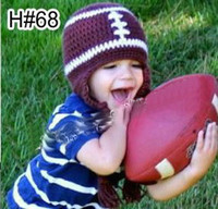 Wholesale 100 Cotton Handmade baby hat COOL Boy Handmade crochet Knitted Kids Football Beanie Hat with Earflaps