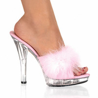 Wholesale Free postage fees inch high heels CM stripper shoes Plump feathered crystal shoes sexy platform women s shoes size
