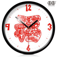 Wholesale Art wall clock personalized watches and clocks quartz modern style silent chinese fu word paper cutting clock